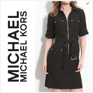Michael Kors Black Roll Sleeve Black Dress L